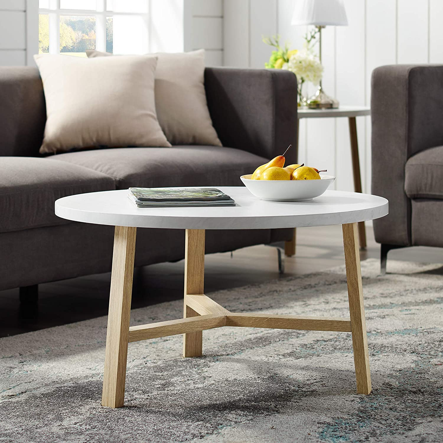 "WE Furniture AZF30EMCTLO Coffee Table 30"" White Marble and Light Oak"