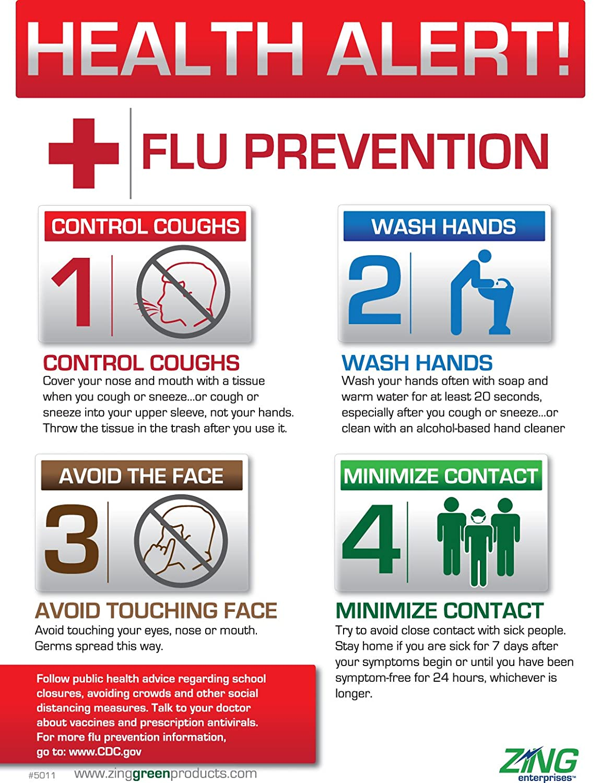 ZING 5011 Safety Eco Health Poster, Health Alert Flu Prevention ...