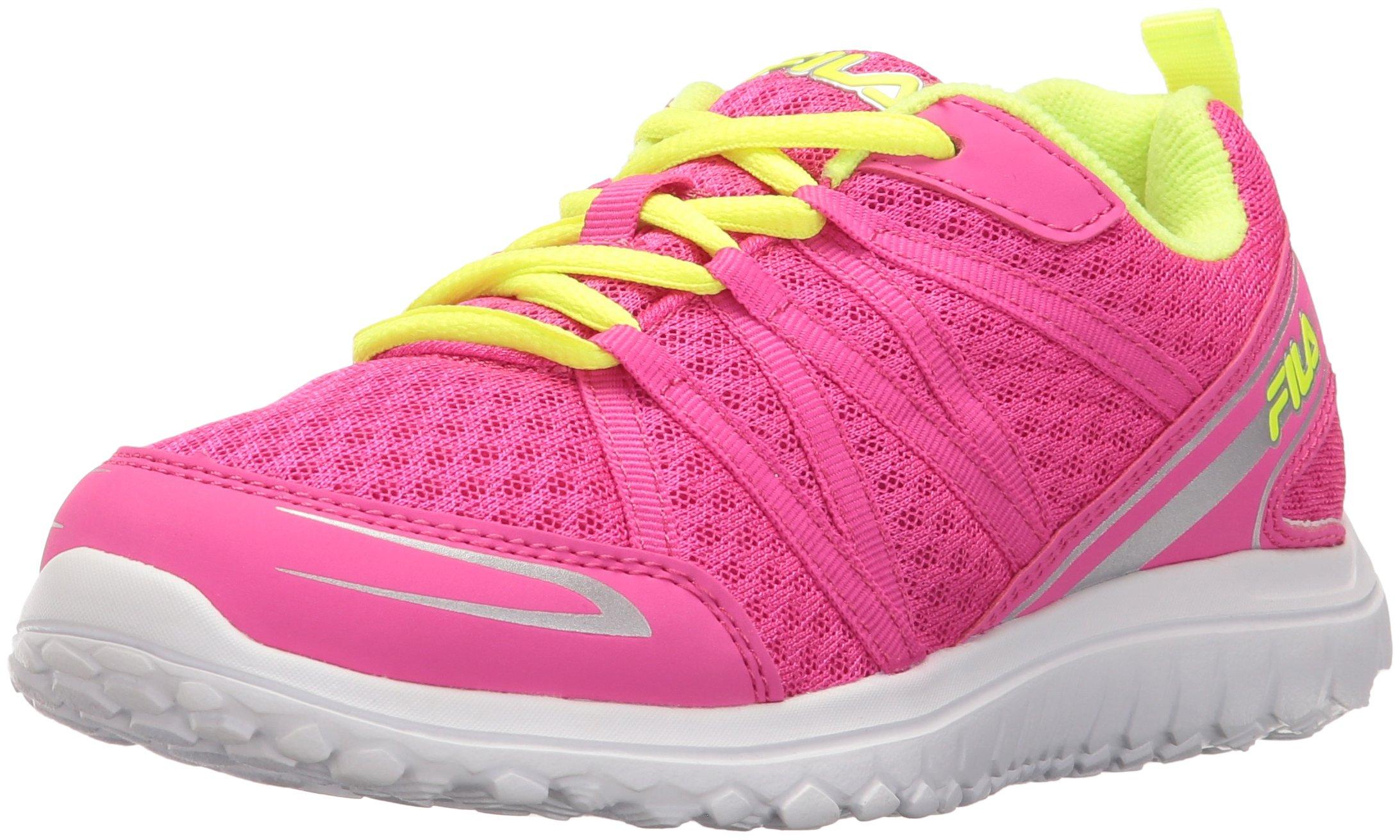 Fila Girls' FLYVER Skate Shoe Pink Glo/Safety Yellow/Metallic Silver 10.5 M US Little Kid