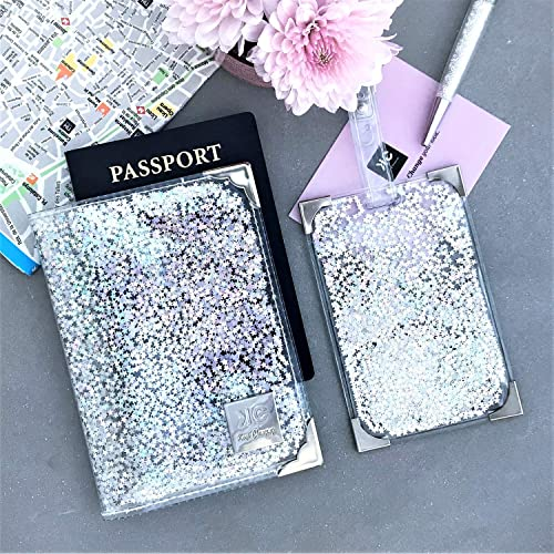 dffcf46a8d58 Clear and Holographic Glitter Passport Holder and Luggage Tag Set for  Women, Silver Handmade Cute Travel Gift Pack for Her