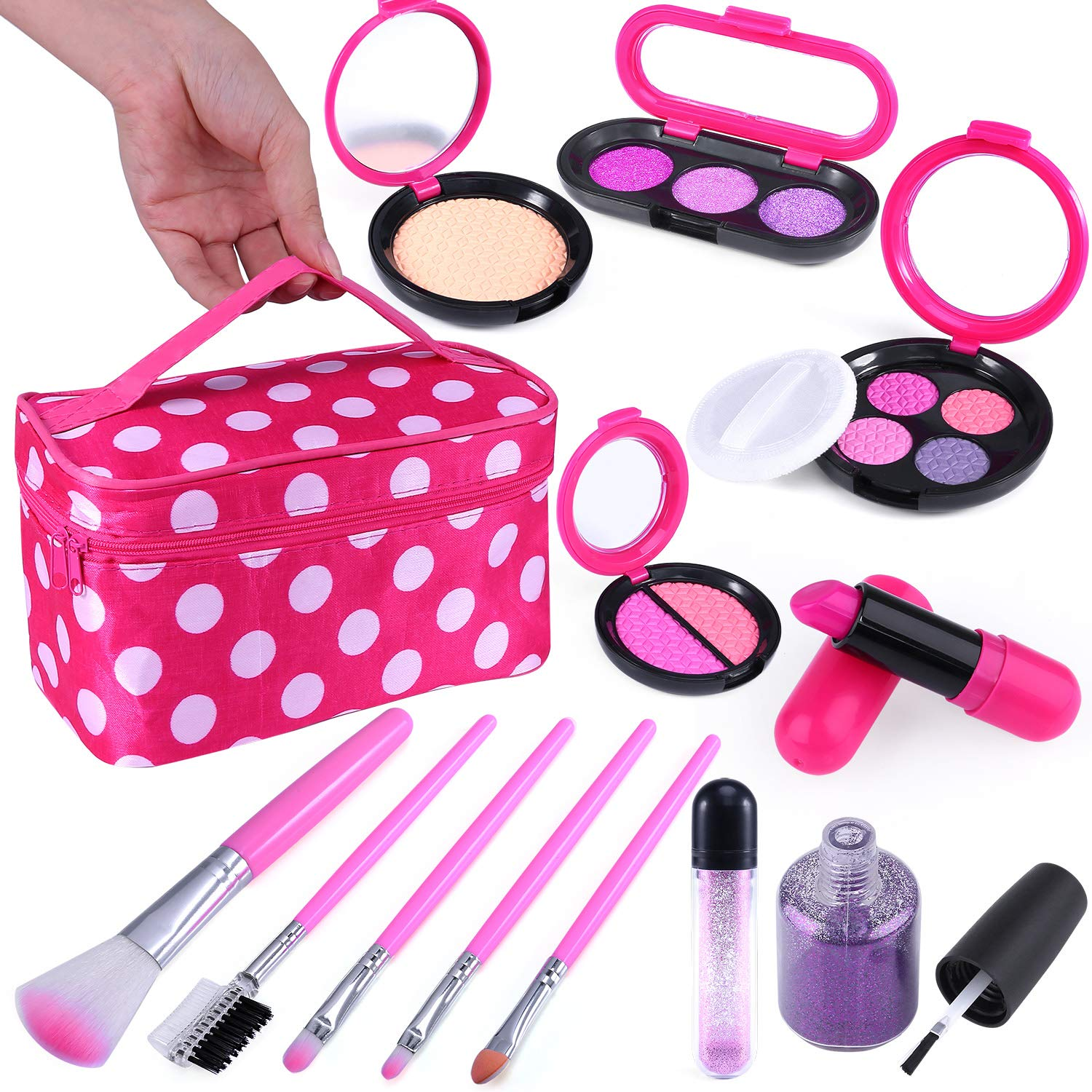 TEPSMIGO Pretend Makeup Kit with Cosmetic Bag for Girls 4-10 Year Old - Including Pink Brushes, Eye Shadows, Lipstick, Nail Polish, Mirrors, Glitter Pot, Puff Pad and More