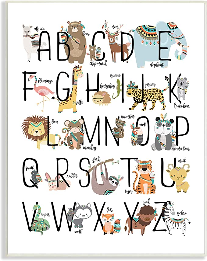 Stupell Industries Nursery Animal Alphabet Chart Soft Orange White Designed by Zirkus Design Grey Framed Wall Art 16 x 20