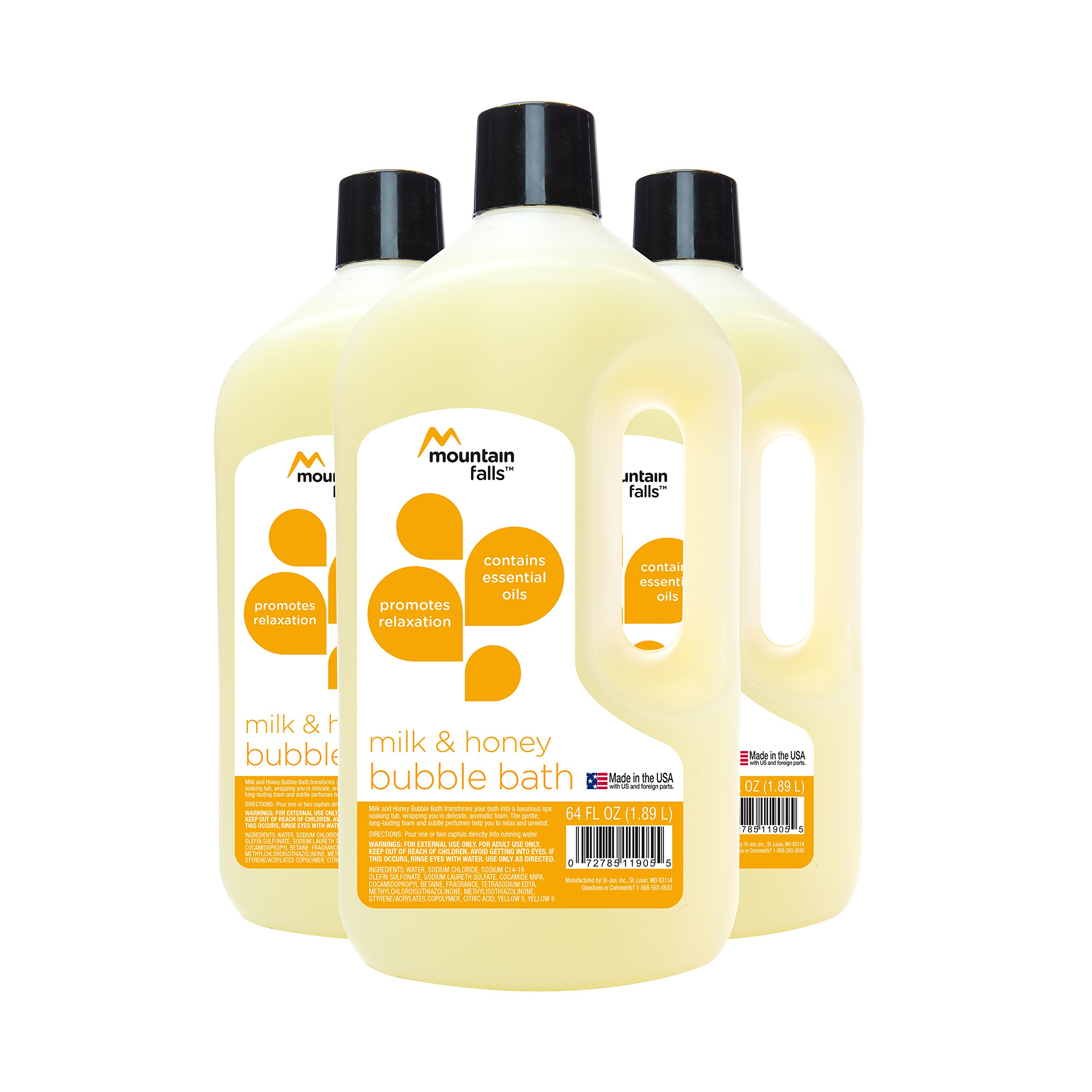 Mountain Falls Bubble Bath with Essential Oils, Milk and Honey, 64 Fluid Ounce (Pack of 3)