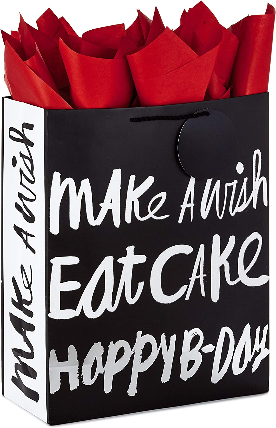 "Hallmark 15"" Extra Large Gift Bag with Tissue Paper for Birthdays (Happy B-Day, Black and Silver)"