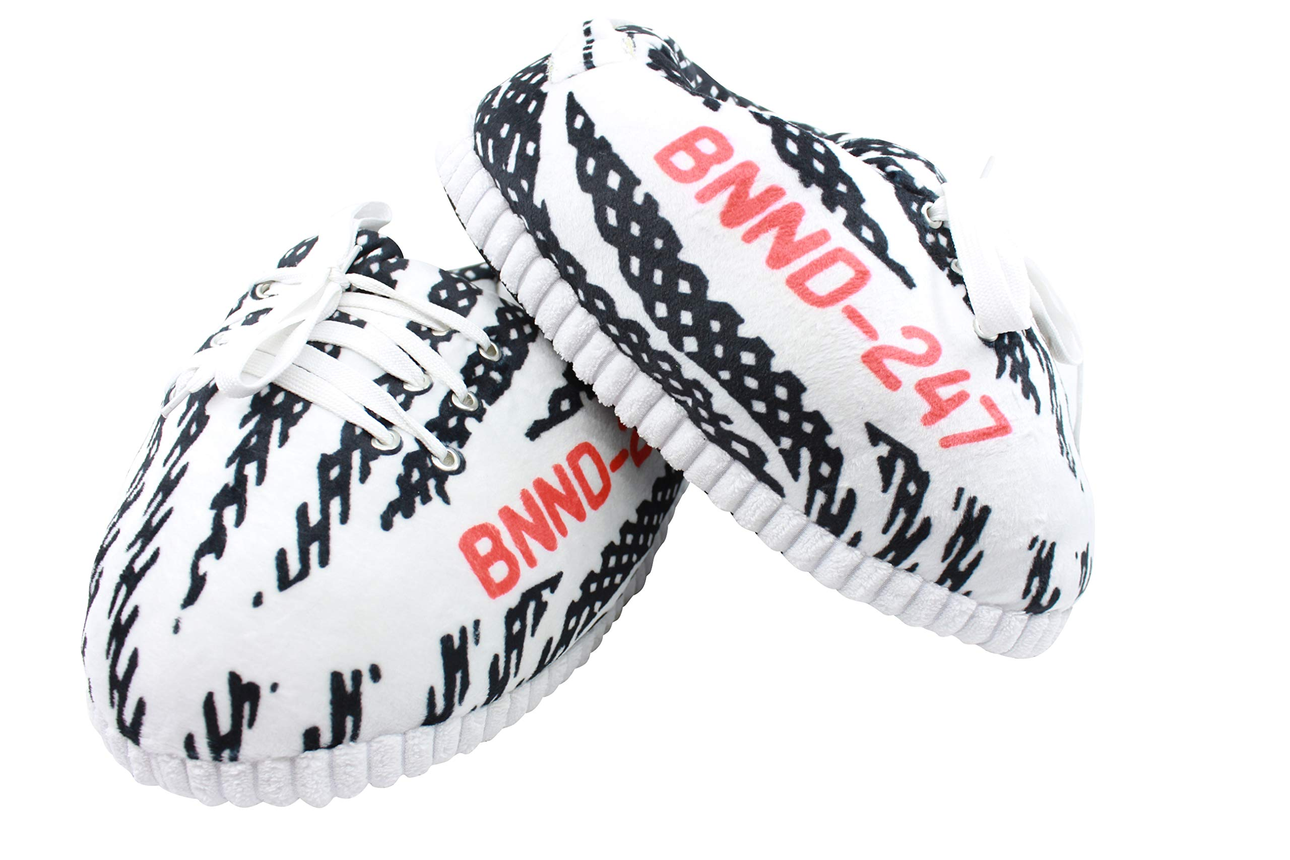 SoleSlip ZBRA Sneaker Slippers   Men and Women   Comfy and Cozy   Perfect for Lounging   Pure Polyester   One Size Fits All   Trendy Design   White and Black   Yeezy Slippers 2019 by SoleSlip