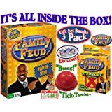 Endless Games Family Feud 5th Edition Set Bundle Includes Strikeout Card Game, Electronic Red 3-Mode Game Answer Buzzer and Count Down Timer