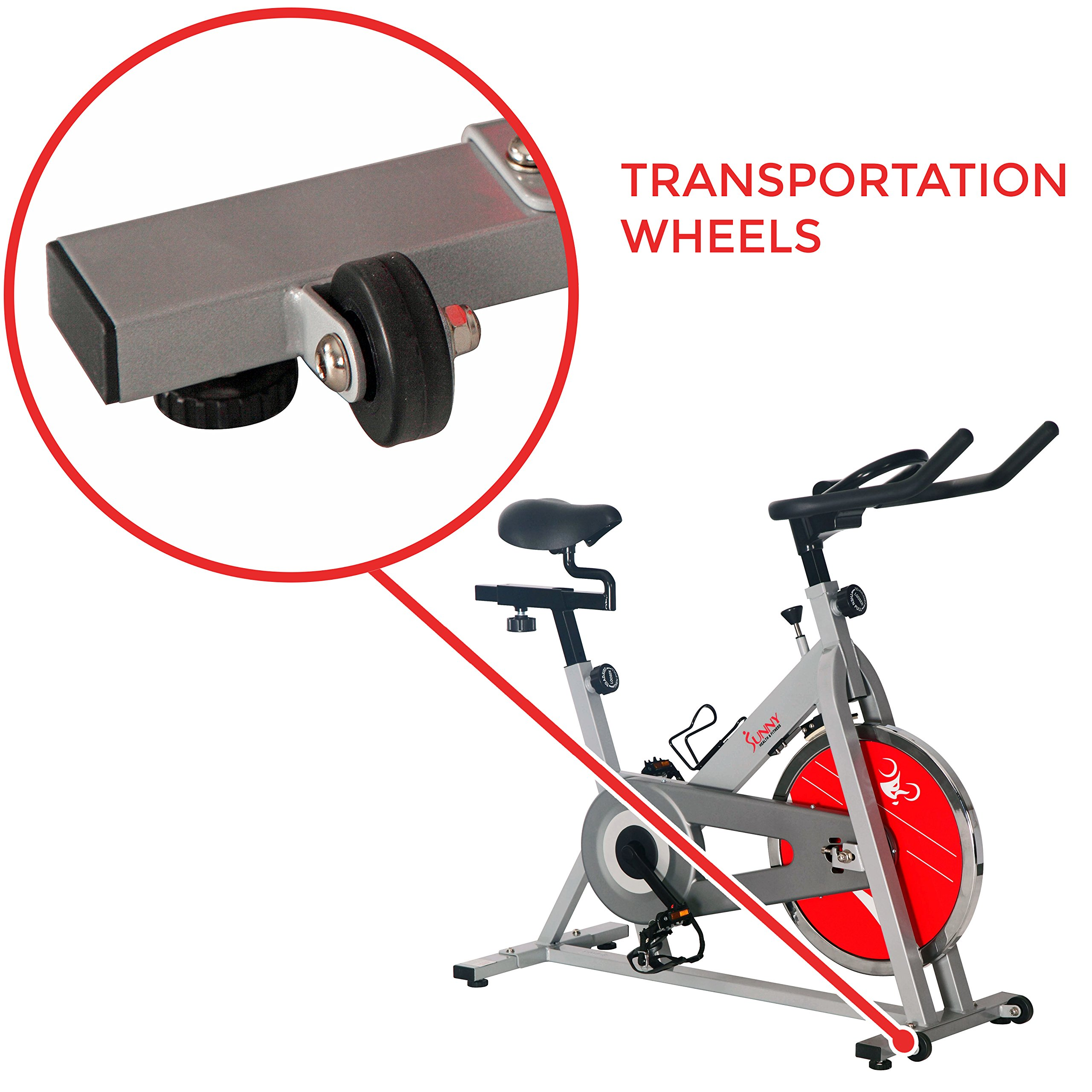 Sunny Health & Fitness SF-B1001S Indoor Cycling Bike, Silver by Sunny Health & Fitness (Image #9)