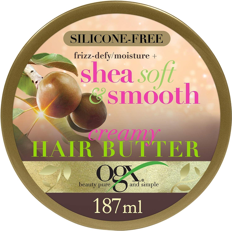OGX Frizz Defy Moisture Plus - Mantequilla para el cabello cremoso suave y liso, 187 g