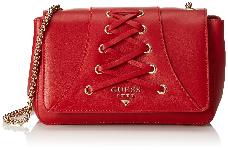 Guess dahlia crossbody flap borsa a mano, donna, rosso amazon rosso