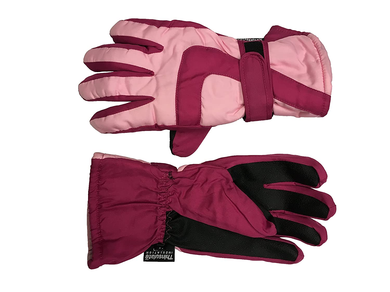 Boy Girls Thinsulate 3M 40 gram Thermal Insulated Waterproof Winter Ski Gloves Black / Grey)