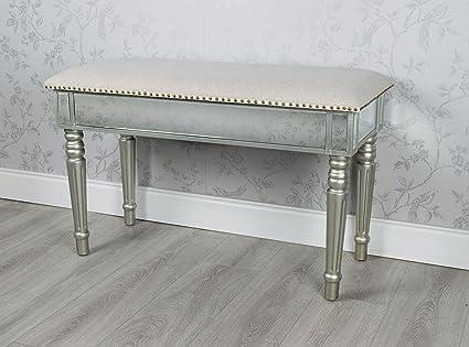 Incredible Downton Interiors Antique Silver Mirrored Glass Bench Window Machost Co Dining Chair Design Ideas Machostcouk