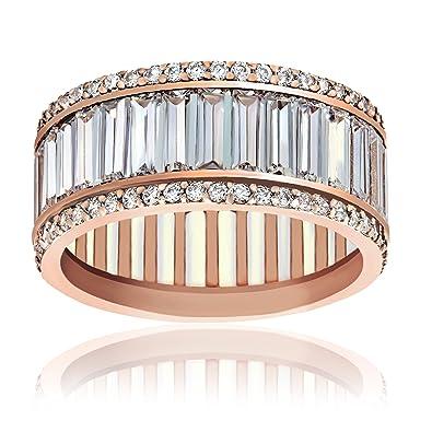 Amazon.com: Lesa Michele Baguette Cubic Zirconia Eternity Wedding ...