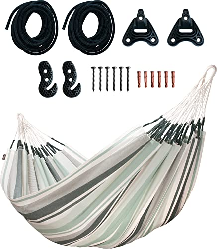 LA SIESTA Paloma Olive – Cotton Double Classic Hammock with CasaMount Black Multipurpose Suspension