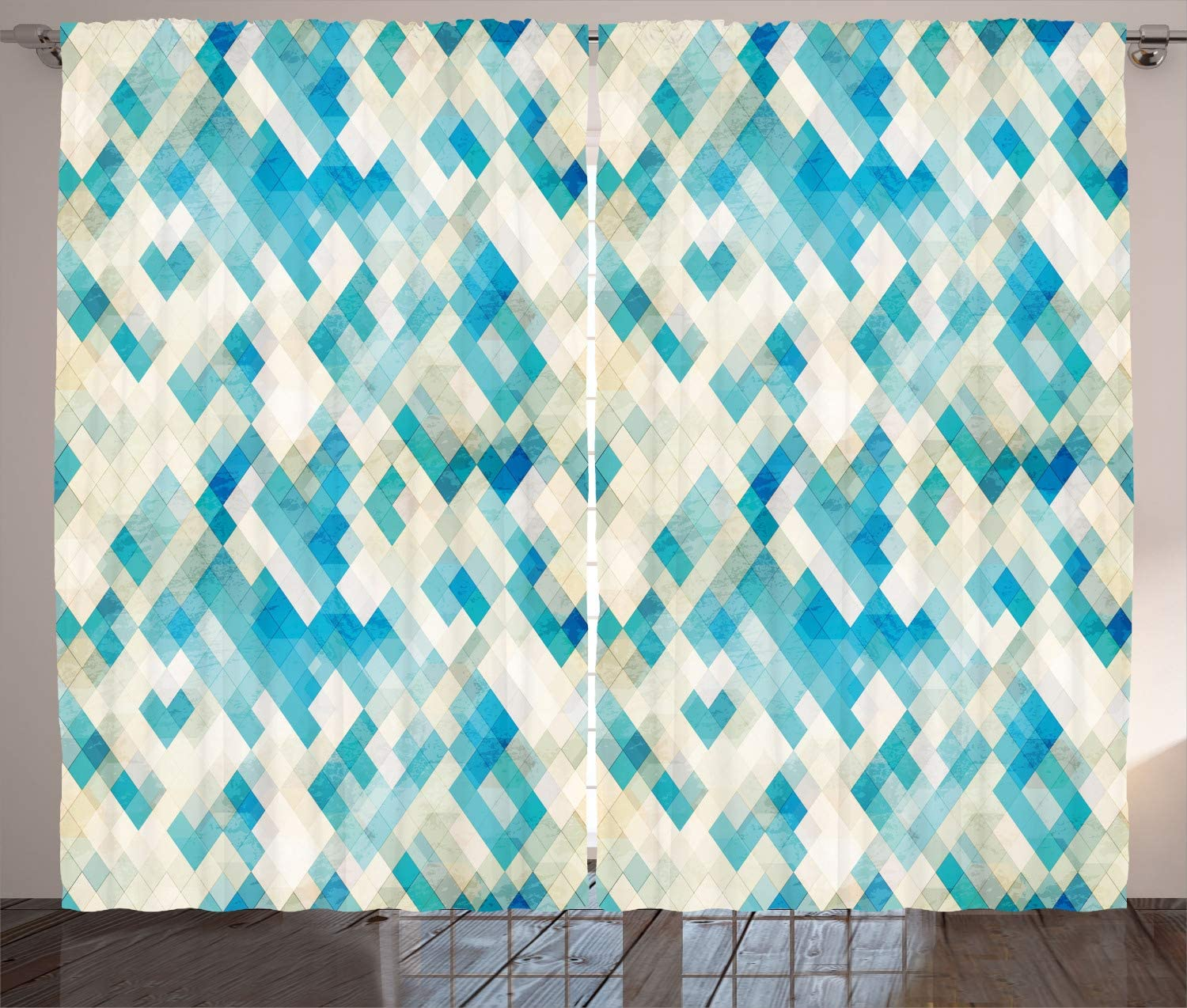 """Ambesonne Geometric Curtains, Blue Themed Hexagonal Shaped Abstract Modern Grunge Art Print, Living Room Bedroom Window Drapes 2 Panel Set, 108"""" X 90"""", Turquoise White"""