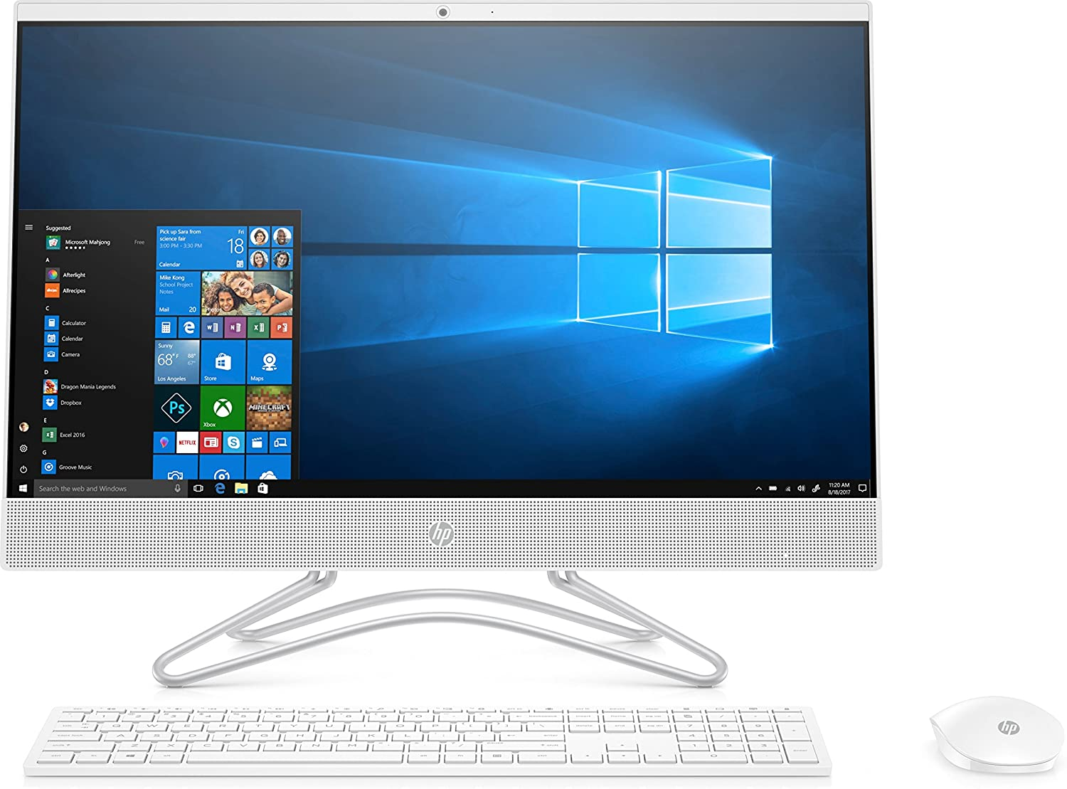 HP All In One 24-F0019NS - Ordenador de sobremesa (AMD A9, RAM de 4 GB, Disco Duro de 1 TB, Windows 10) Color Blanco Nieve