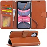 Arae iPhone 11 Case PU Leather Wallet Cover [Stand Feature] with Wrist Strap and Credit Cards Holder for iPhone 11 6.1…
