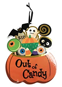 Image: ShanGoods Happy Halloween Reversible Trick or Treat Out of Candy Door Decoration Sign