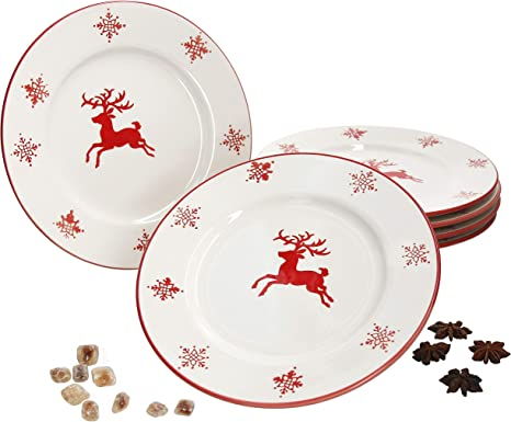 Biscuits MamboCat Set of 6 Cake Plates Christmas I Snowflakes /& Deer I for 6 People I Cookies Stollen I Christmas I X-Mas I Dessert Plates Flat Porcelain