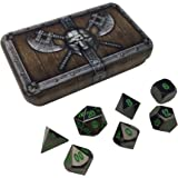 Skull Splitter Dice Black Dragon Metal Dice - Shiny Black Nickel with Green Numbers | Solid Metal Polyhedral Role Playing Game (RPG) Dice Set of 7 Dice with Awesome Dwarven Chest Dice Case