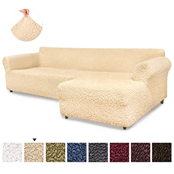 Awe Inspiring Sectional Sofa Cover Sectional Couch Covers L Couch Cover Soft Polyester Fabric Slipcovers 1 Piece Form Fit Stretch Furniture Slipcover Inzonedesignstudio Interior Chair Design Inzonedesignstudiocom