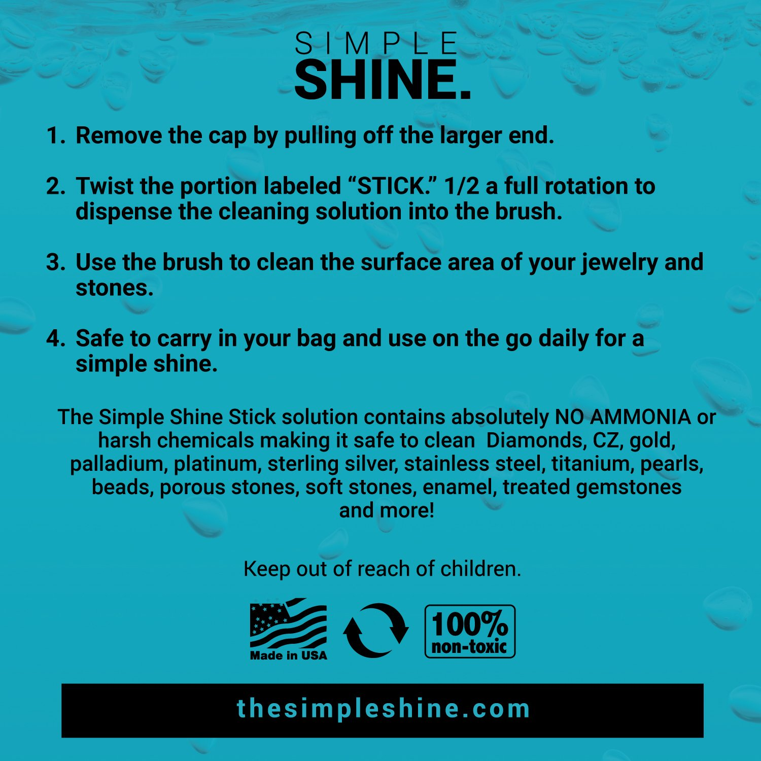 NEW Simple Shine Stick | Compact Diamond Cleaning Brush and Jewelry Cleaner Solution All-In-One by Simple Shine (Image #7)