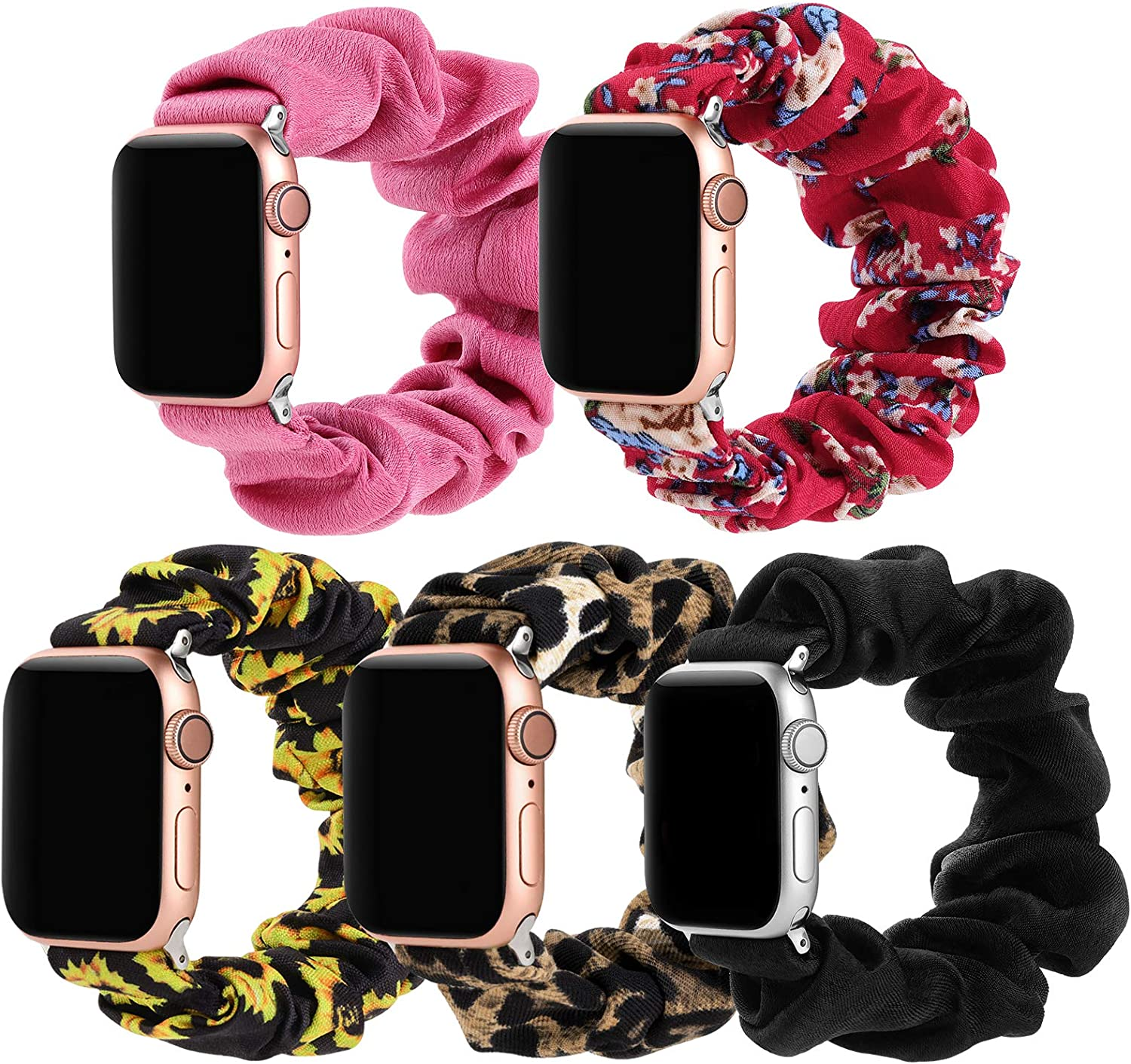 Simpeak 5 Pack Elastic Scrunchie Band Compatible with Apple Watch Series 6 SE 5 4 3 2 1, Soft Women Pattern Strap Replacement for iWatch 44mm 42mm,Small,Black/Pink/Leopard/Sunflower/Flower