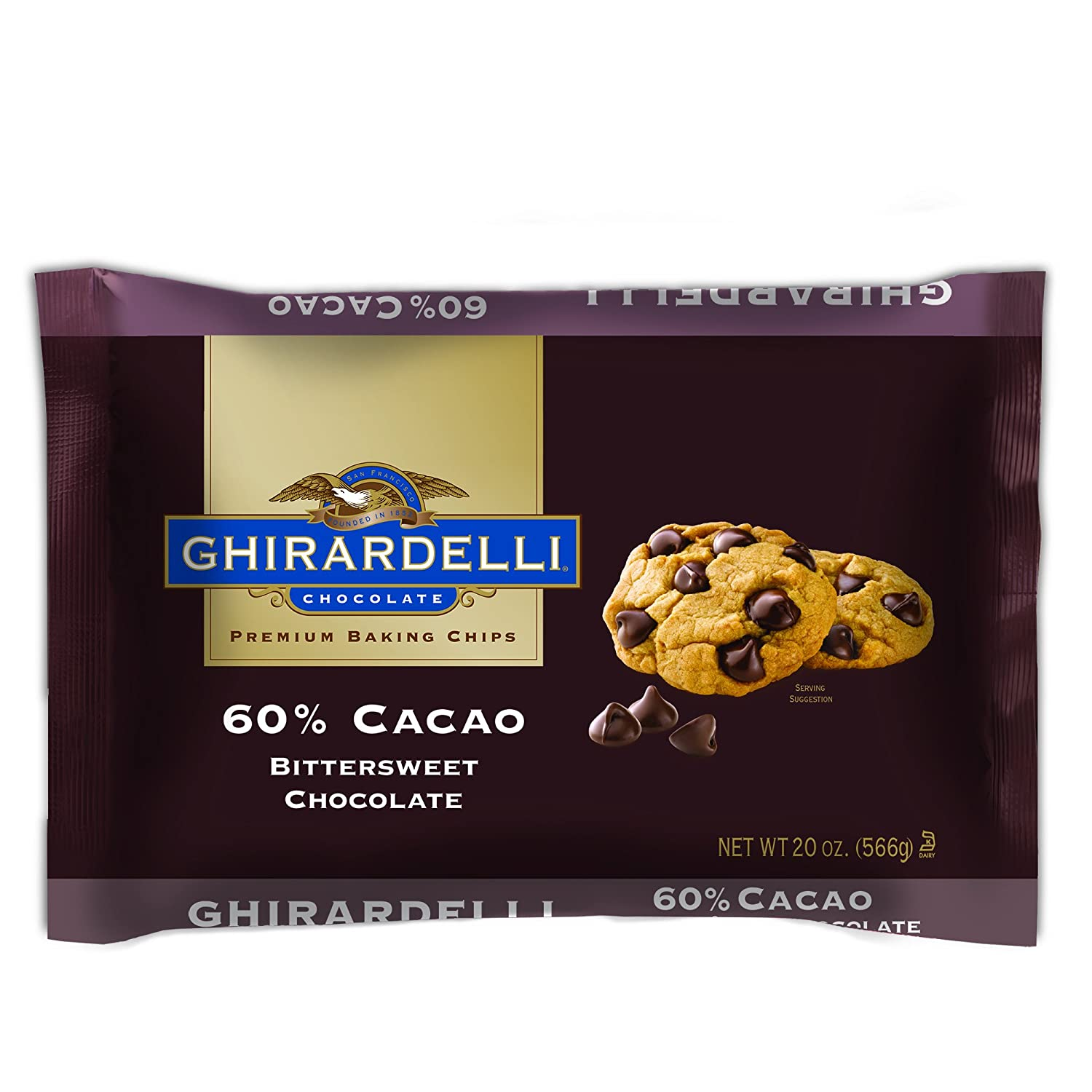 Amazon.com : Ghirardelli Chocolate Bittersweet Baking Chips, 20 oz ...