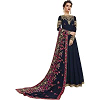Indian Women Wear Navy Blue Color Faux Georgette Fabric Viscose Embroidery Indian Dresses For Women (Semi-Stitched)