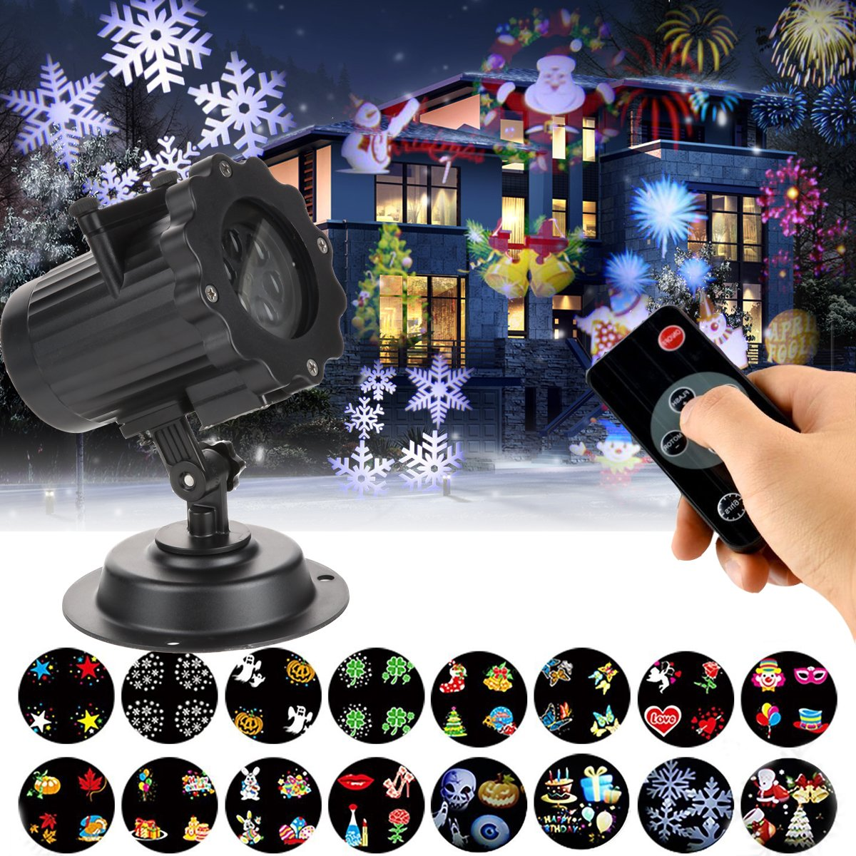 LED Projector Lights, KOLIER Landscape Spotlight with Interchangeable 16 Slides Waterproof Holiday Projector Light with Remote Control for Party / Birthday by KOLIER (Image #1)