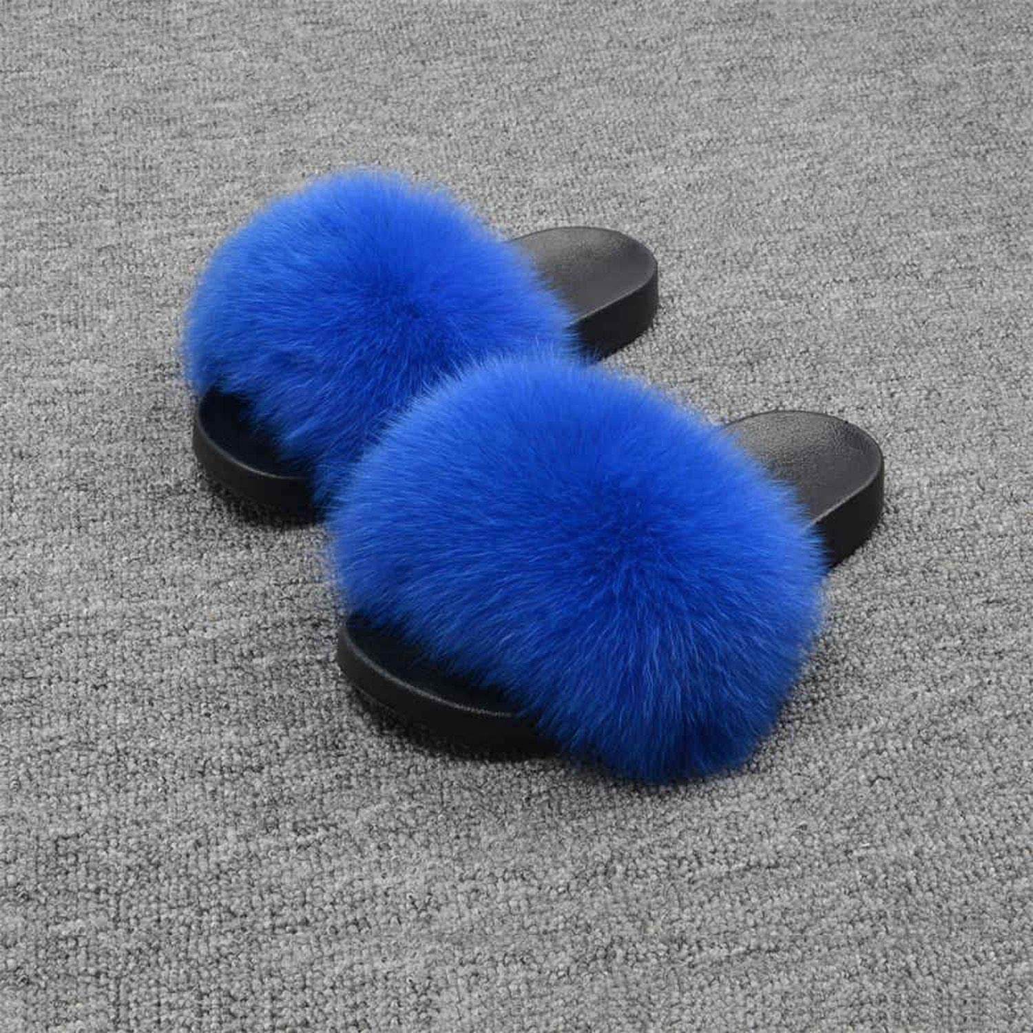 Royal bluee Blingbling-honored High end Real Fox Fur Slipper Women Slides Sliders Fashion Spring Summer Autumn Fluffy Fur Lady S6018