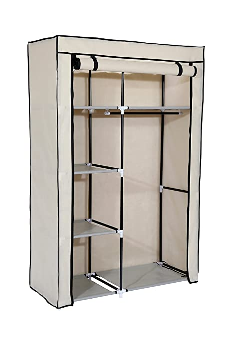 Superior MULSH Closet Wardrobe Portable Clothes Storage Organizer With Metal Shelves  And Dustproof Non Woven Fabric