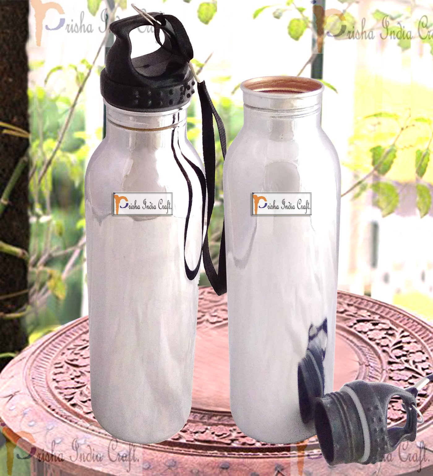 Prisha India Craft Pure Copper Water Bottle Outside Steel with Plastic Loop Cap Handmade Joint Free & Leak Proof Water Bottles | Capacity 900 ML | Set of 2