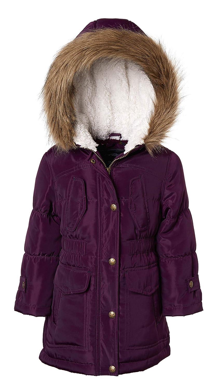 Sportoli Girls Fashion Winter Puffer Jacket Coat with Sherpa Lined Fur Trim Hood