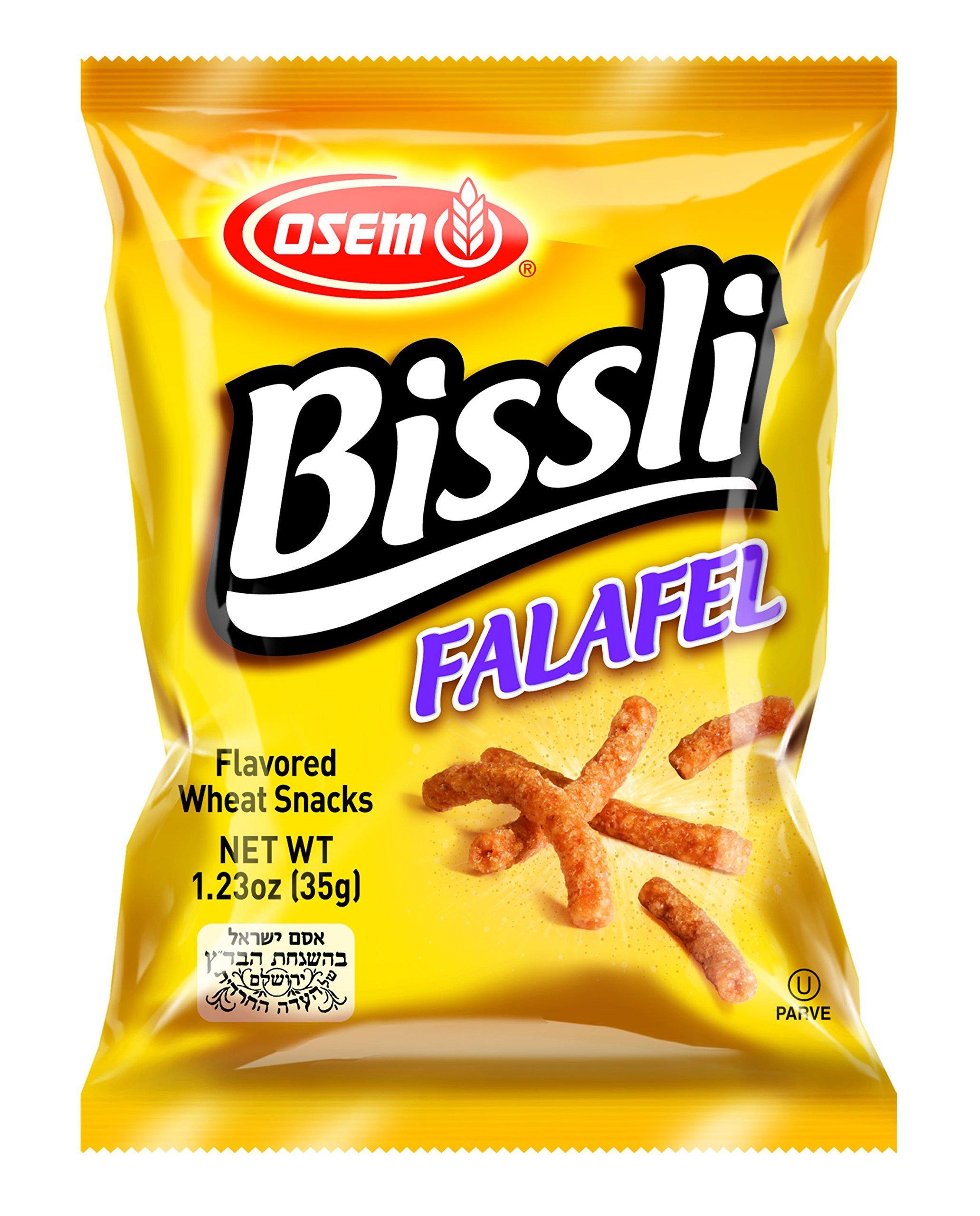 Bissli Falafel Flavored Crunchy Wheat Snack - No Food Coloring or Preservatives, 1.23oz Bag (Pack of 48)