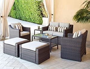 SOLAURA Outdoor Furniture Set 7-Piece Lounge Chairs with Ottoman & Loveseat Brown Wicker Furniture with Neutral Beige Cushions & Sophisticated Glass Coffee Table
