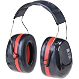 3M H10A Peltor Optime 105 Over the Head Earmuff, Ear Protectors, Hearing Protection, NRR 30 dB Black, Red