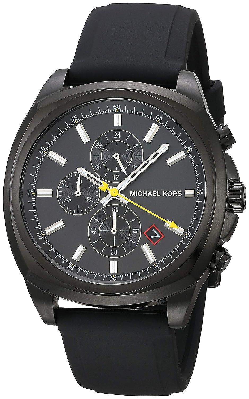 CDM product Michael Kors Men's Bryson Stainless Steel Analog-Quartz Watch with Silicone Strap, Black, 22 (Model: MK8649 big image
