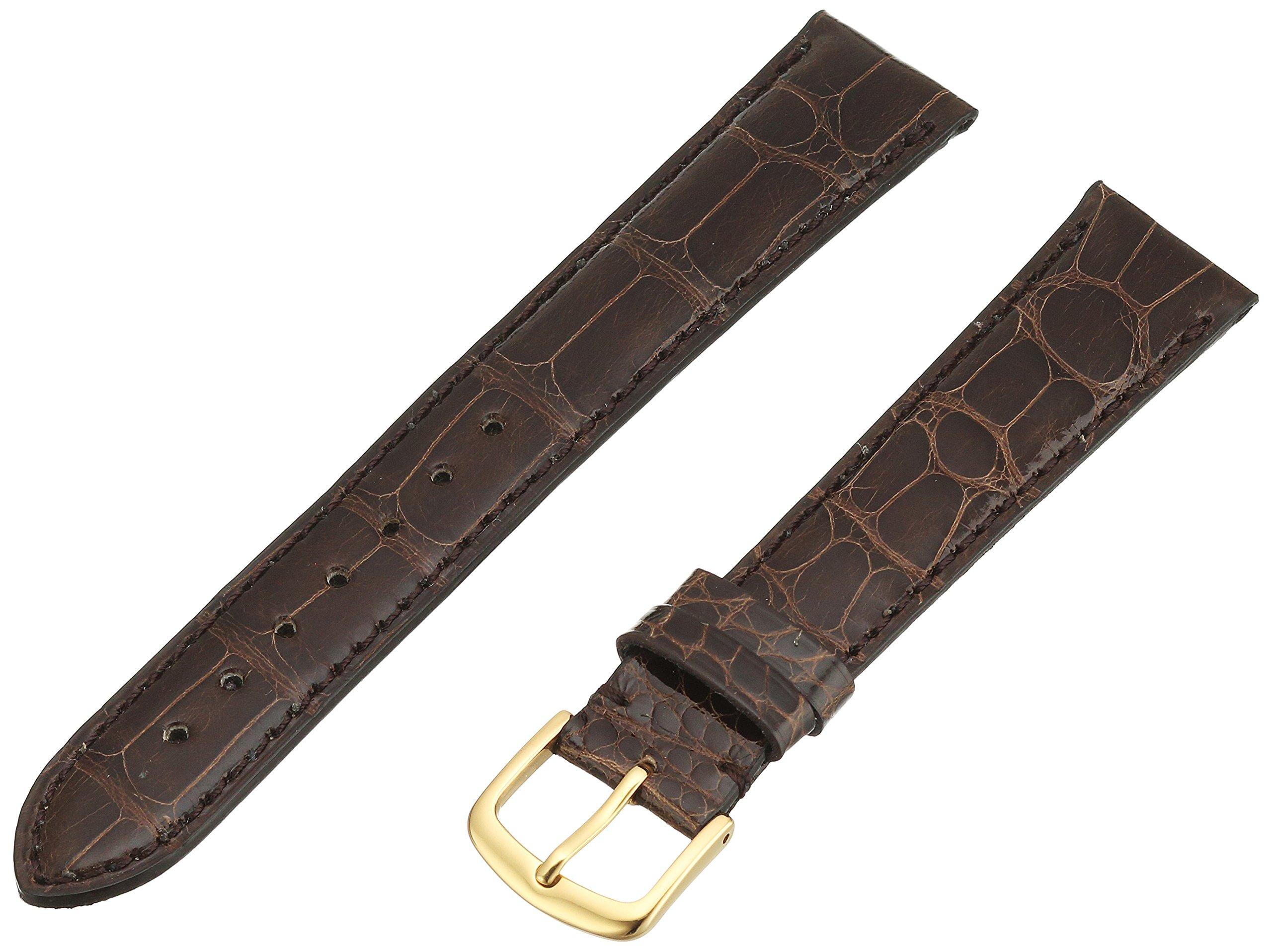 Hadley-Roma Men's MS2007RB-180 18-mm Brown Genuine Alligator Leather Watch Strap