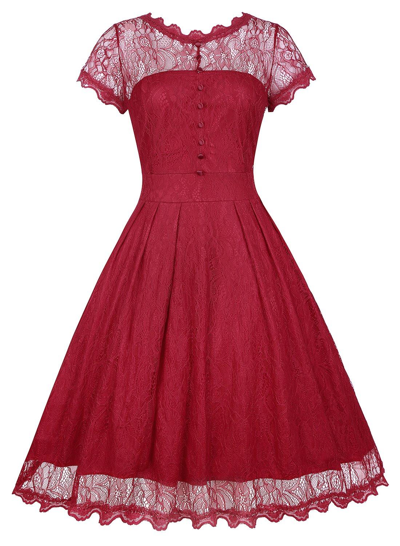 KeZheXi Women's Retro Floral Lace Vintage Evening Prom Party Bridesmaid Dress