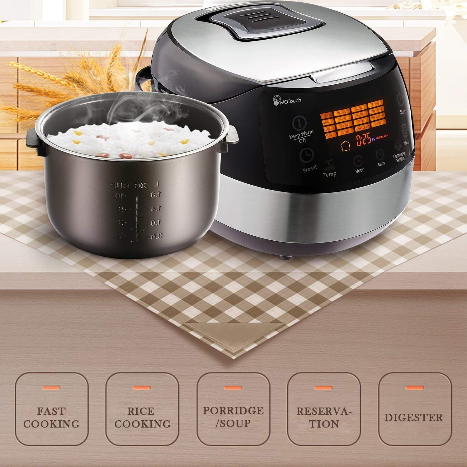 Rice Cooker Steamer 20 Cup Cooked (10 cup uncooked) Slow Cooker 24 Hours Delay Timers 6 QT 7 in 1 Electric Rice Cooker Black