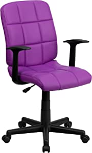 Flash Furniture Mid-Back Purple Quilted Vinyl Swivel Task Chair with Arms - GO-1691-1-PUR-A-GG