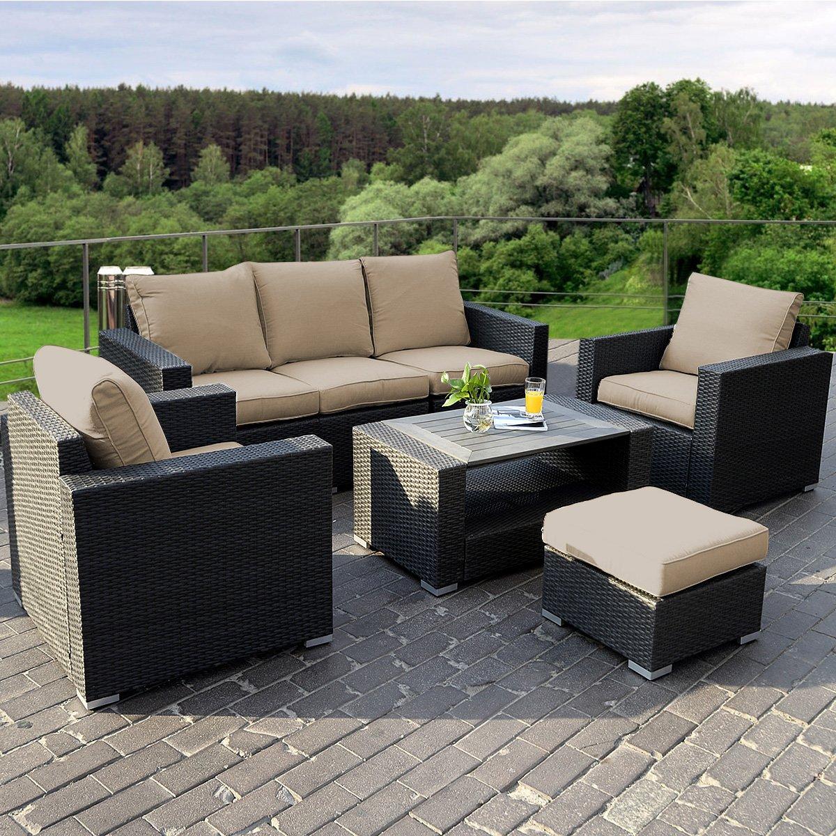 amazoncom giantex 7pc outdoor patio patio sectional furniture pe wicker rattan sofa set deck couch garden u0026 outdoor