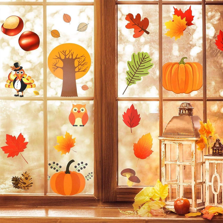 Autumn Fall Thanksgiving Themed Window Cling Set Turkey and Pumpkins 3 Piece