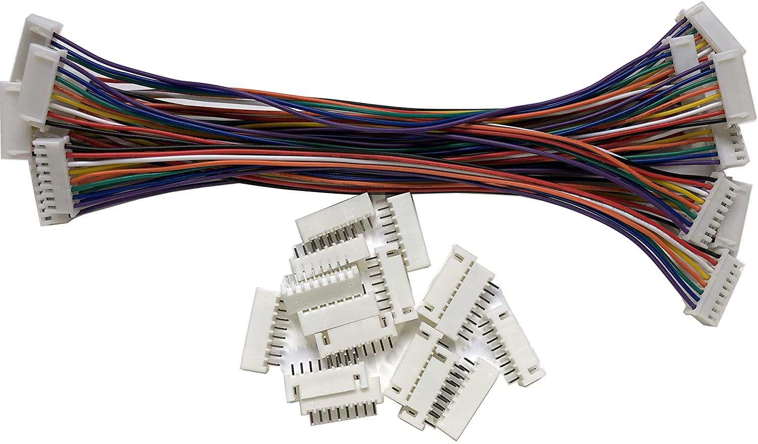 LATTECH 8 PCS 8 PIN JST XH Female Connector on One Side with Electric Wire 1007 26 AWG(Total Length:200MM) /& JST XH 8 PIN Male Connector 8 PCS