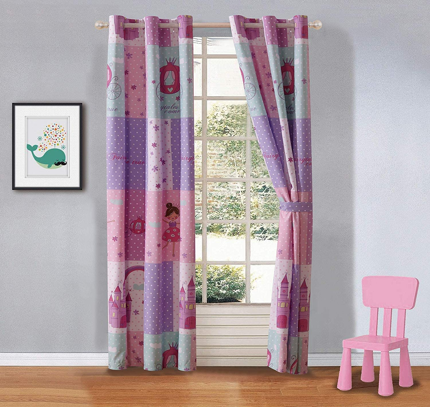 Elegant Home Multicolor Pink Lavender Lilac Blue Princess Fairy Tales Palace Castle Design Pink Girls / Kids Room Window Curtain Treatment Drapes 2 Piece Set with Grommets (Fairy Tales)