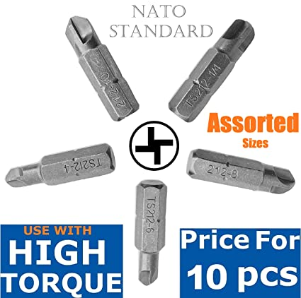 MIX 10/Pack Bits That Fit Torq-Set Screws No: 4 6 8 10 1/4 Hi-Torque 4 Arms  Cross Impact Power Tool Accessory Airplane Maintenance Small 1