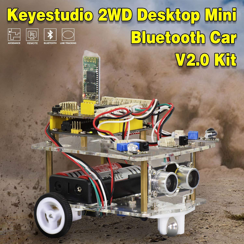 KEYESTUDIO f/ür Arduino Roboter Kit mit Tutorial APP Steuerung via Smartphone usw Line Tracking Modul Auto Roboter Spielzeug f/ür Erwachsene und Kinder Ultraschallsensor