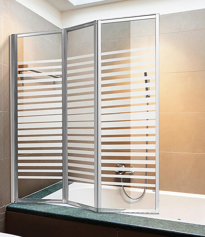 Pared para bañera de 3 puertas con perfiles de aluminio y cristal serigrafiado, altura de 140 x 134 cm: Amazon.es: Jardín