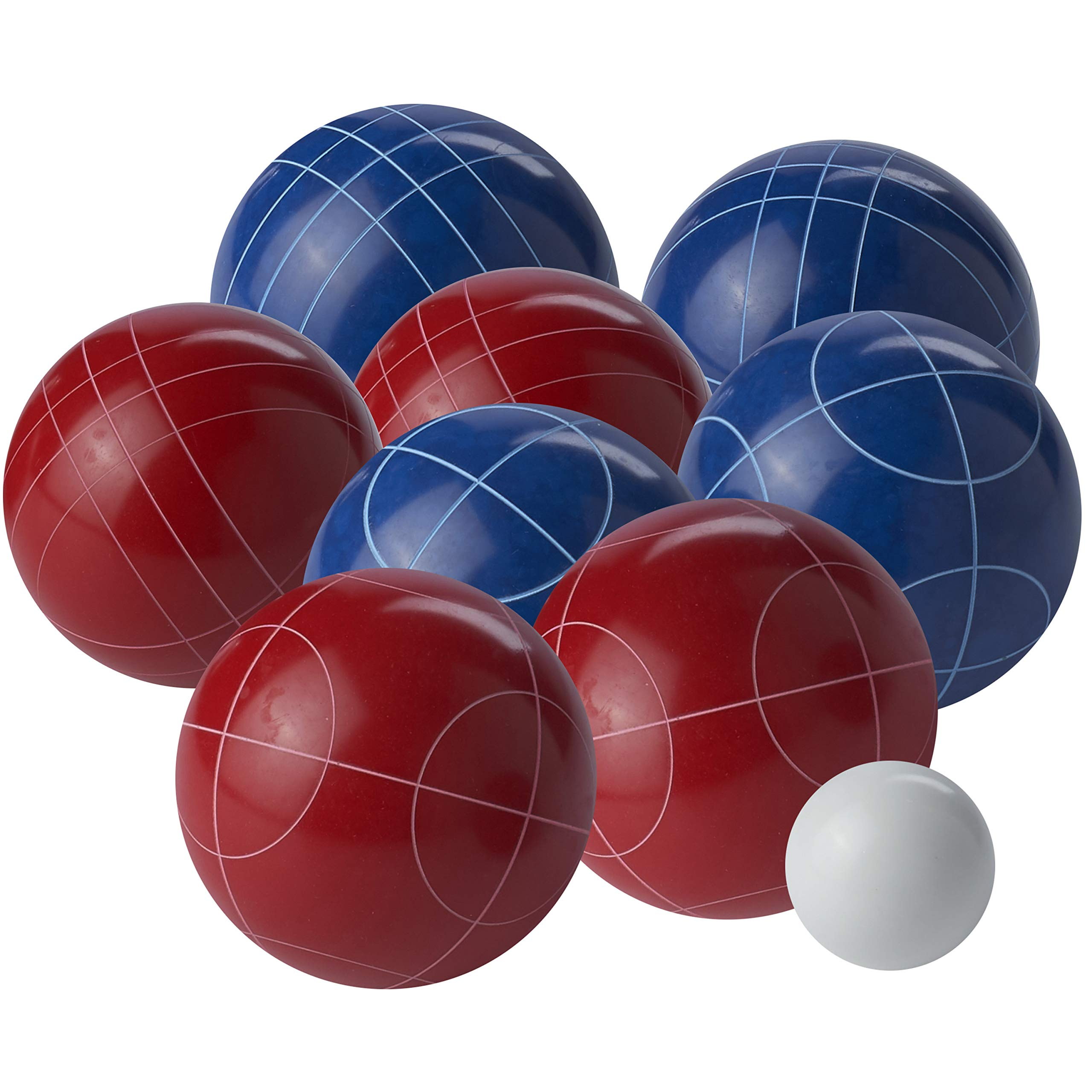 Franklin Sports Bocce Ball Set — Red, White, Blue Bocce Balls and Pallino — Complete, Ready-to-Play Bocce Ball Set — Perfect for Lawn Games, Beach Games, and More