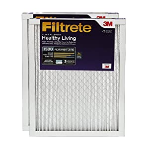 Filtrete 16x20x1, AC Furnace Air Filter, MPR 1500, Healthy Living Ultra Allergen, 2-Pack